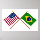 E.U. e bandeiras cruzadas Brasil Poster