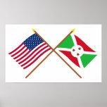 E.U. e bandeiras cruzadas Burundi Pôsteres