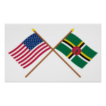 E.U. e bandeiras cruzadas Dominica Pôsteres