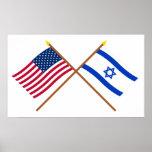 E.U. e bandeiras cruzadas Israel Posters
