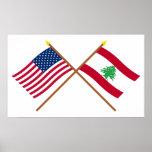 E.U. e bandeiras cruzadas Líbano Posters
