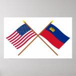 E.U. e bandeiras cruzadas Liechtenstein Posters