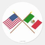 E.U. e bandeiras cruzadas México Adesivo