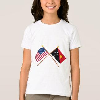E.U. e bandeiras cruzadas Papuá-Nova Guiné Camisetas