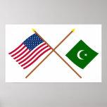 E.U. e bandeiras cruzadas Paquistão Pôsteres
