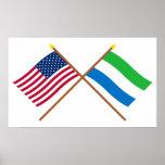 E.U. e bandeiras cruzadas Sierra Leone Posters