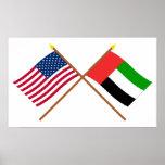 E.U. e bandeiras cruzadas United Arab Emirates Posteres