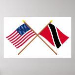 E.U. e Trinidad & bandeiras cruzadas Tobago Posters