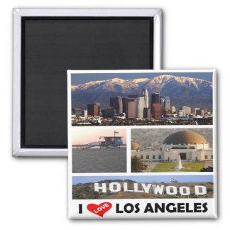 E.U. - Os Estados Unidos da América - Los Angeles Ímã Quadrado
