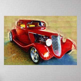 É um clássico! Carro vermelho bonito Poster
