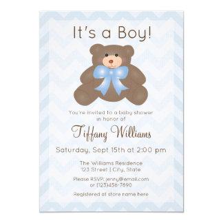 É um menino que bonito do urso de ursinho do convite 12.7 x 17.78cm