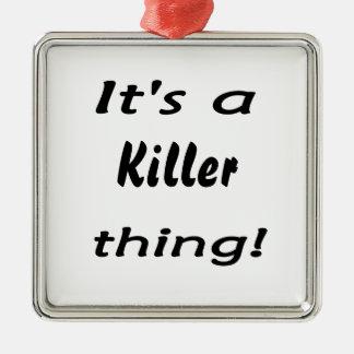 É uma coisa do assassino! ornamento quadrado cor prata