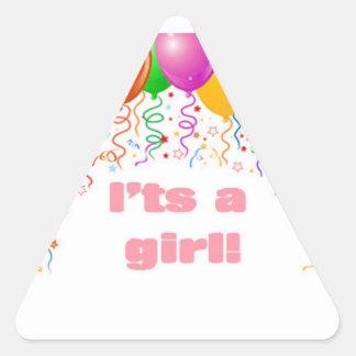 É uma menina!  Anúncio do bebê Adesivo Em Forma De Triângulo