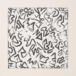 Echarpe Brushstrokes pretos modernos dos grafites do