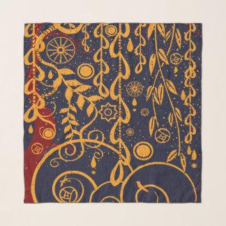 Echarpe Lenço do Chiffon do estilo de Nouveau no azul, no