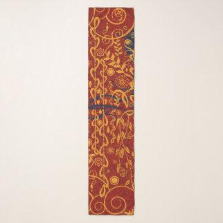 Echarpe Vermelho do estilo de Nouveau e lenço do Chiffon