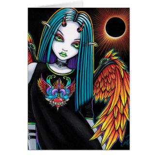 Eclipse pouco anjo do diabo do arco-íris cartão comemorativo