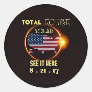 Eclipse solar etiqueta o 21 de agosto total. EUA