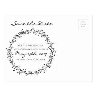 Economia--Data floral da grinalda Cartão Postal