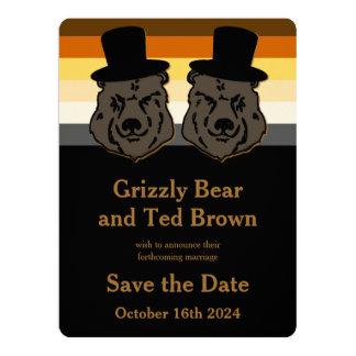 Economias alegres do urso dos noivos o ouro & o convite 16.51 x 22.22cm
