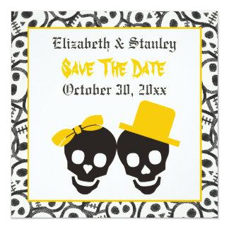 Economias amarelas do casamento do Dia das Bruxas Convite Quadrado 13.35 X 13.35cm