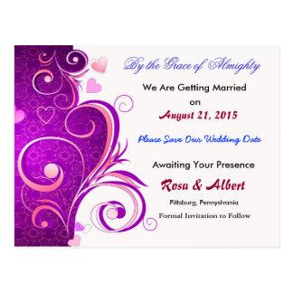 Economias bonito o cartão do casamento da data cartão postal