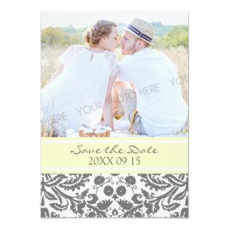 Economias cinzentas amarelas do casamento da foto convite 12.7 x 17.78cm