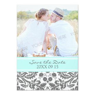 Economias cinzentas do casamento da foto do Aqua o Convite 12.7 X 17.78cm