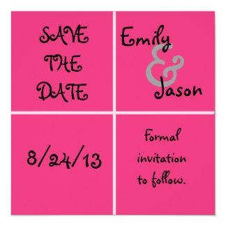Economias cor-de-rosa da caixa a data convite quadrado 13.35 x 13.35cm