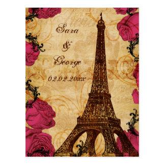 Economias cor-de-rosa de Paris da torre Eiffel do Cartão Postal