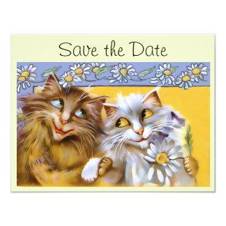 Economias da arte do gato do amor do vintage o convite 10.79 x 13.97cm