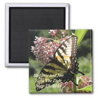 Economias da borboleta a data ímã quadrado