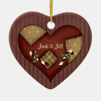 Economias da coleção do Natal a data Ornamento De Cerâmica Coração