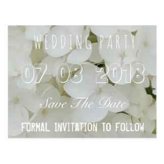 Economias da festa de casamento o branco floral do cartão postal