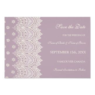 Economias de creme roxas do casamento da foto o convite 12.7 x 17.78cm
