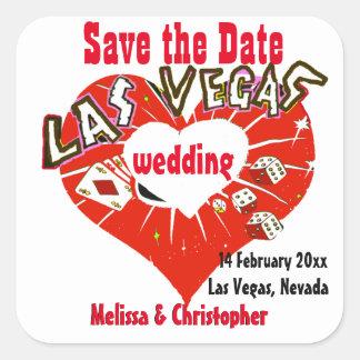 Economias de Las Vegas o casamento vermelho do Adesivo Quadrado