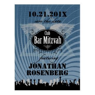Economias de Mitzvah do bar do clube a data no Cartão Postal