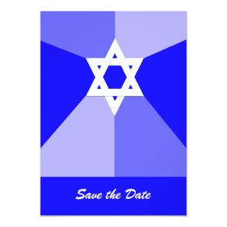 Economias de Mitzvah do bar o azul do cartão do Convite 12.7 X 17.78cm