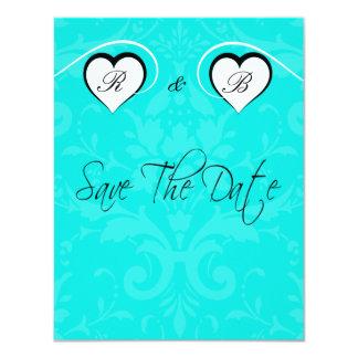 Economias de turquesa a data que Wedding corações Convite 10.79 X 13.97cm
