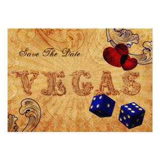economias de Vegas do vintage dos dados dos azuis  Convite
