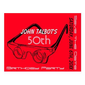 economias do aniversário dos vidros 3D 50th a data Cartão Postal