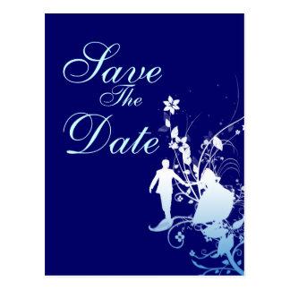 Economias do azul o anúncio do casamento da data cartão postal