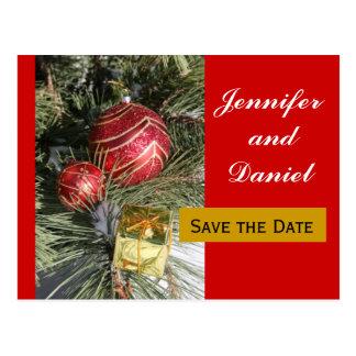 Economias do casamento de dezembro o anúncio da cartão postal