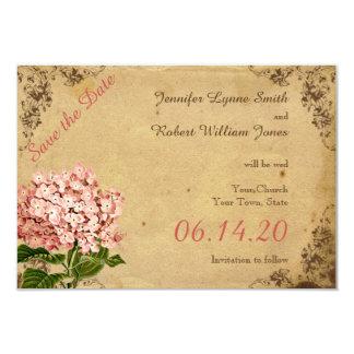 Economias do casamento do Hydrangea do vintage a Convite 8.89 X 12.7cm