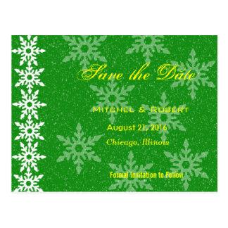 Economias do casamento do Natal dos flocos de neve Cartão Postal