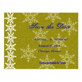 Economias do casamento do Natal dos flocos de neve Cartao Postal