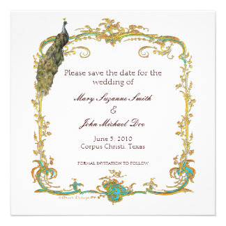 Economias do casamento do pavão o convite da data