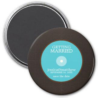 Economias do casamento do registro de vinil a data ímã redondo 7.62cm