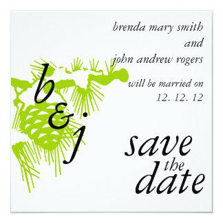 Economias do casamento no inverno o verde dos convite quadrado 13.35 x 13.35cm