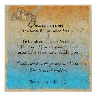 Economias do castelo do conto de fadas o cartão de convite personalizados